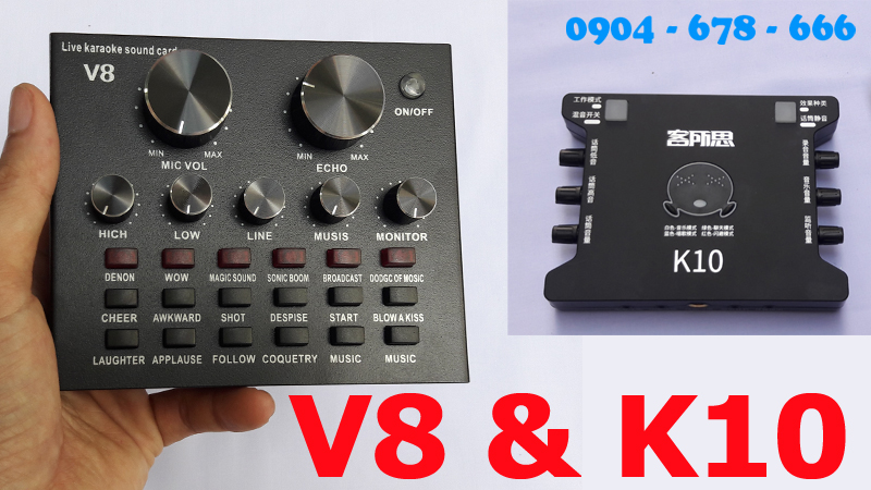 sound card v8 với sound card k10