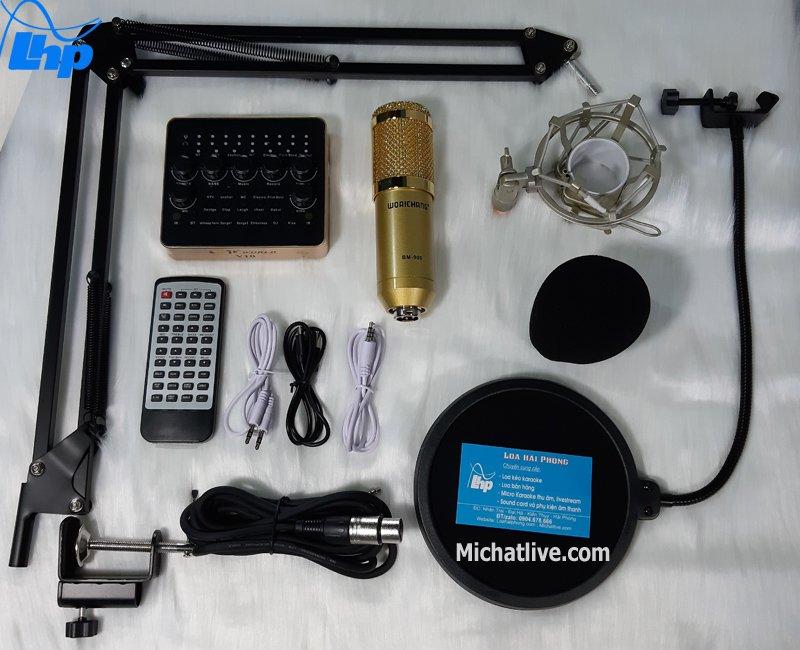 Bộ micro Live stream Sound Card V10 micro BM900