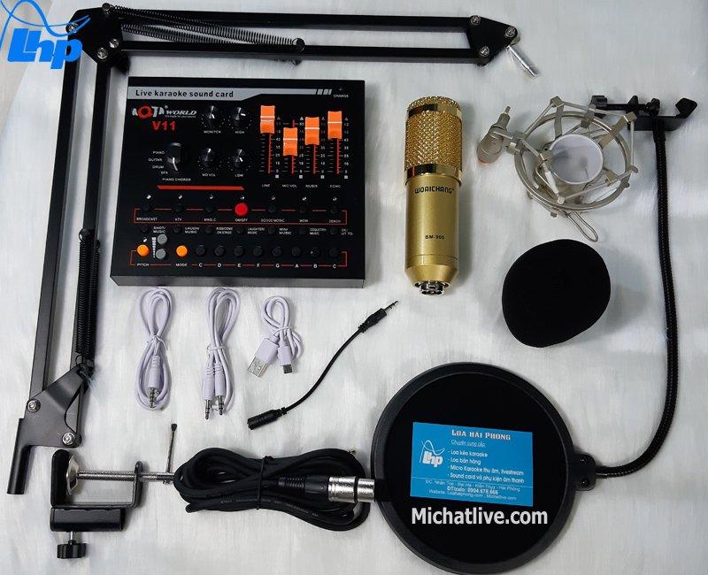 Bộ micro Live stream Sound Card V11 micro BM900