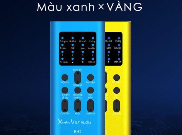 Sound card XOX BH2 có 2 màu xanh và vàng