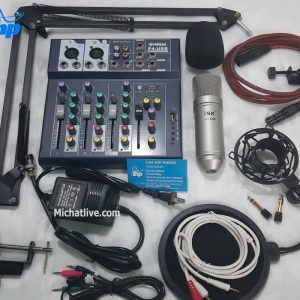 Bộ micro livestream Mixer F4 micro At100