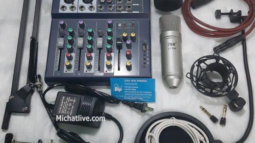 Bộ micro livestream Mixer F4 micro At100