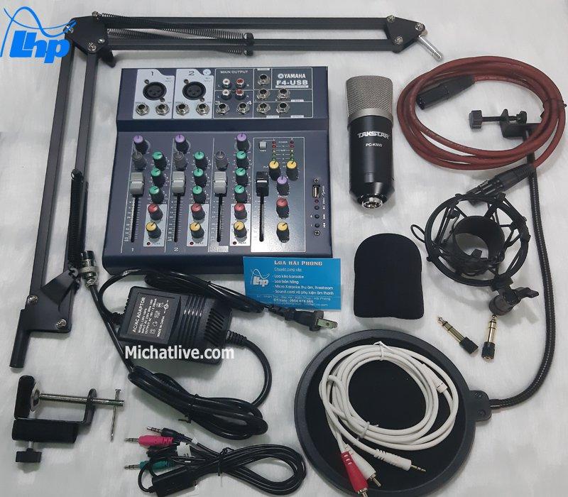 Bộ micro livestream Mixer F4 micro K500
