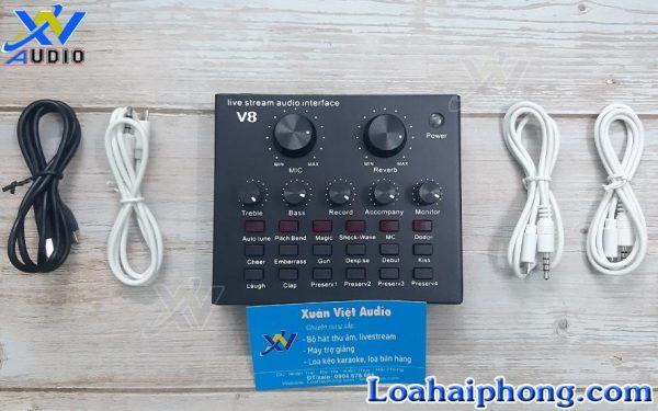 sound card thu âm livestream v8